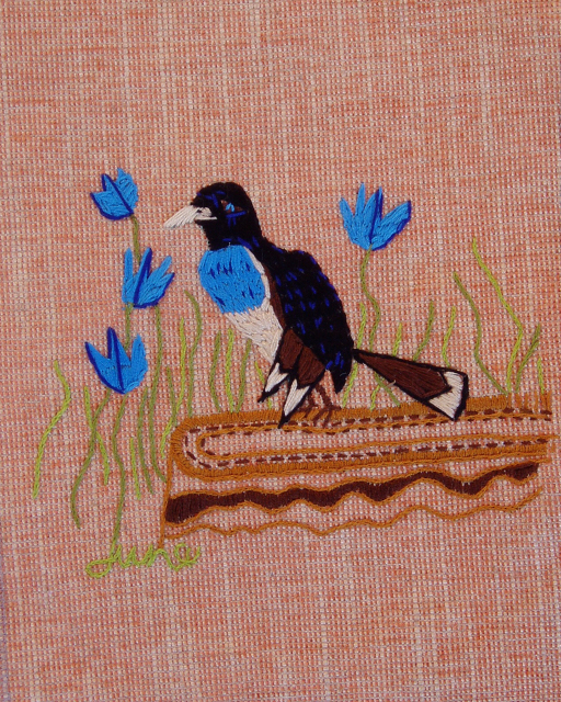 Bird in Bluebells, embroidery by June Jewell  #junejewelldesigns