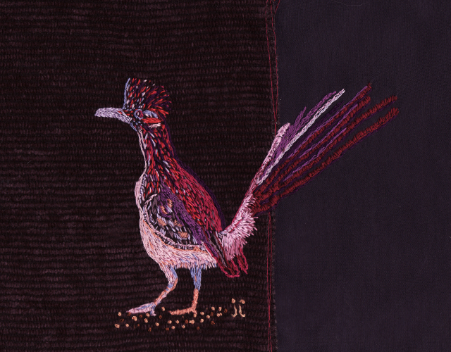 Embroidery of Road Runner 2009. By June Jewell  #junejewelldesigns