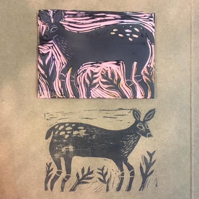 Deer Block Print by June Jewell