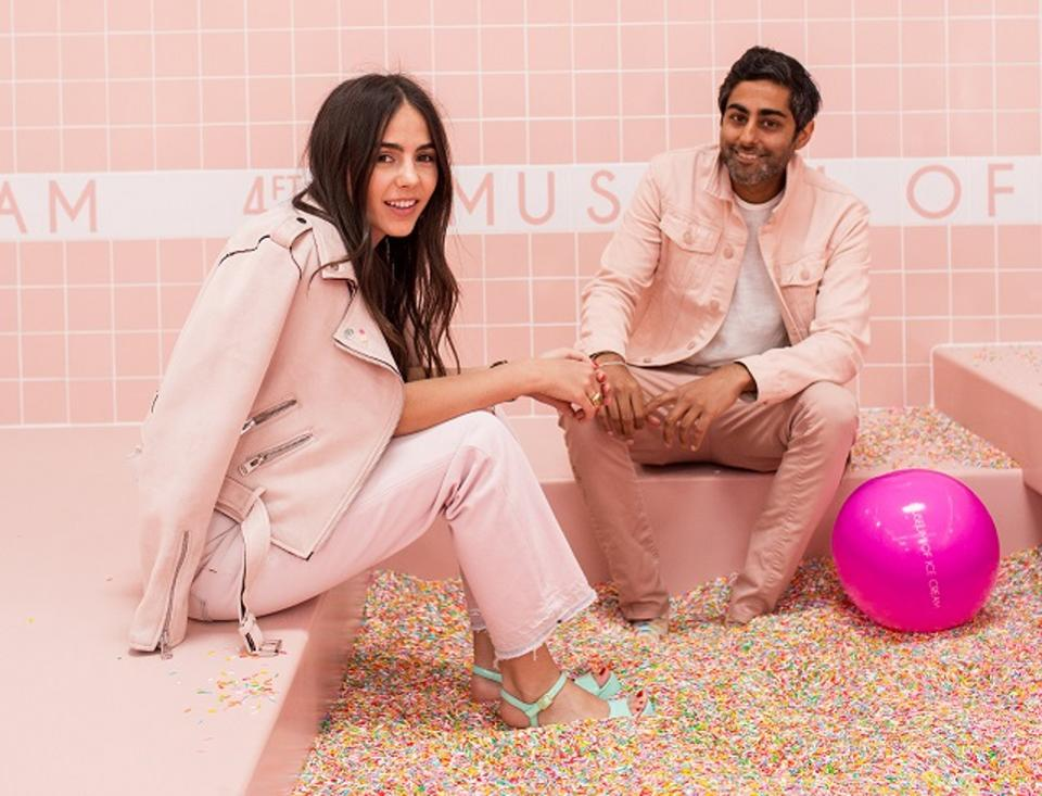 Cofounders Maryellis Bunn and Manish Vora in the sprinkle pool.