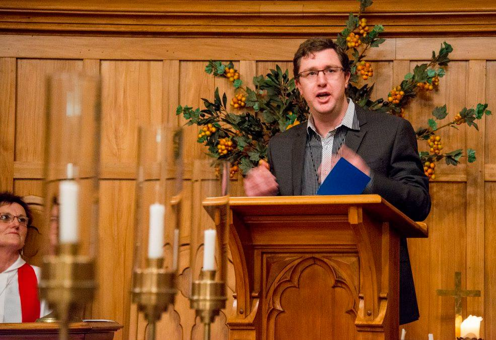 Andrew preaching in the Ross Chapel, Knox College.
