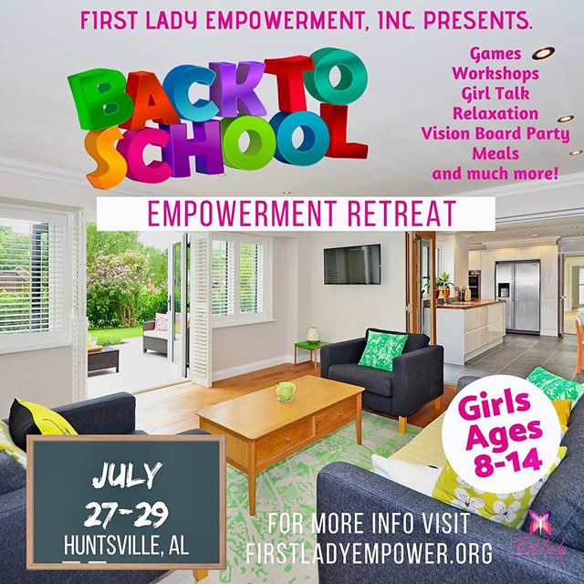 🗣EMPOWERMENT RETREAT  Girls ages 8-14 will enjoy an intimate, safe space where they will explore the meaning of knowing their worth. As the journey back to school begins, girls will learn about social etiquette, social skills, how to navigate social media safely, peer pressure, friendship building and what they should value in today's world. All while relaxing and having fun! This will be an experience that will not soon be forgotten.  Location will be provided once registration is completed.  Link in bio!  ONLY 10 SPOTS AVAILABLE  #1stladyempowerment  #empoweringwomen  #empoweringgirls  #mentorship  #girlpower  #retreat