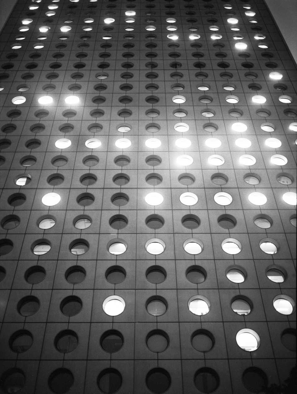 """Light Circles"" Jardine House in Hong Kong. 2014"