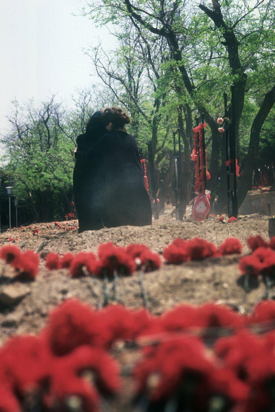 """Weeping Widows"" Both lost their husbands to the Nagorno-Karabakh War. Baku cemetery Azerbaijan.1992"