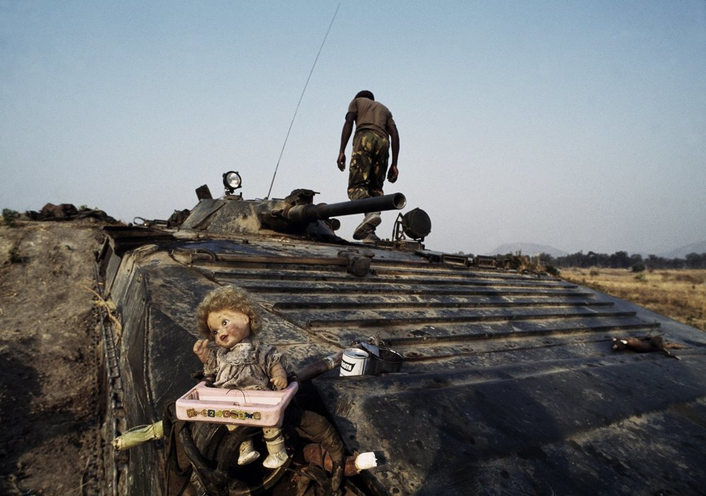 An MPLA soldier during a lull in fighting in Angola's long-running civil war. 1993