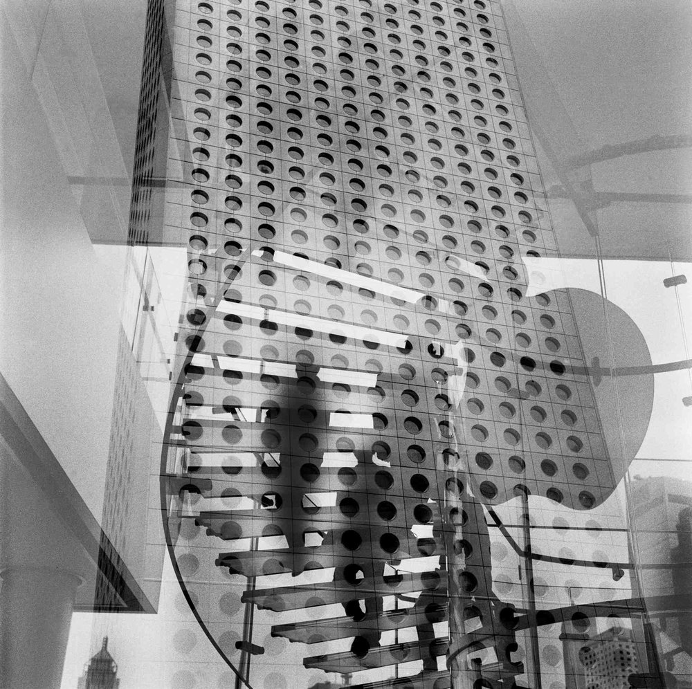 Double exposure, Jardine House in Hong Kong. 2014
