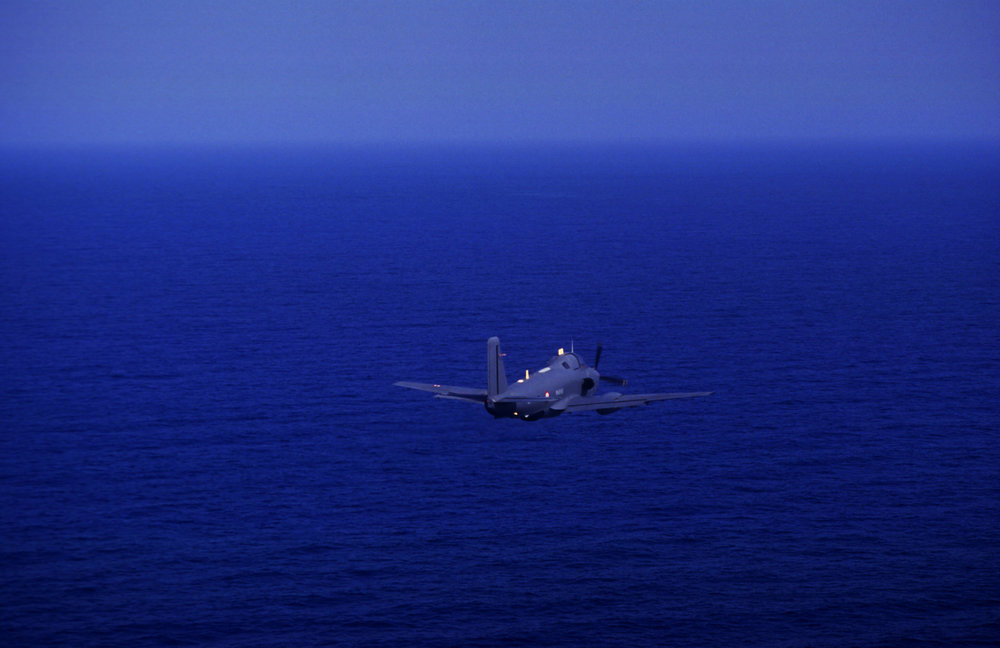 """Into The Blue"" On a reconnaissance sortie with the Australian and Canadian Navy during the First Gulf War. 1991"