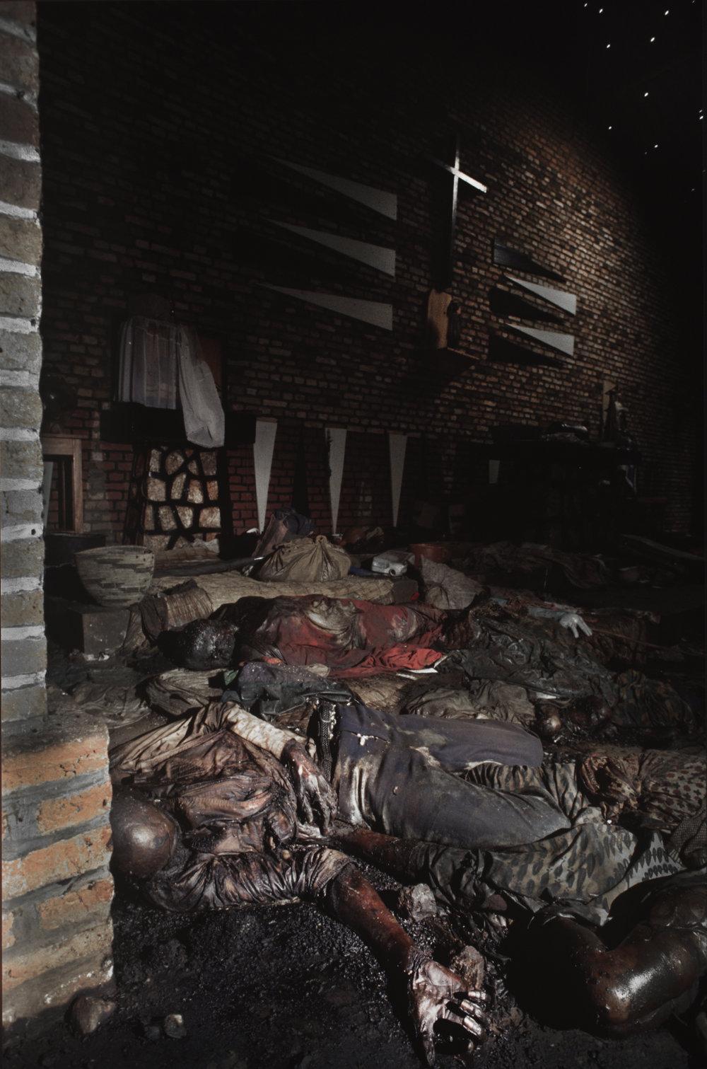 Corpses of Tutu massacre victims [inside] a Belgian Catholic Church in Rukara. Genocide, Rwanda, 1994