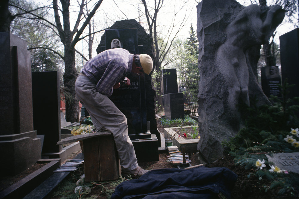 Graves tell stories as surely as books do. Novodevichi cemetery. Moscow, Russia. 1993