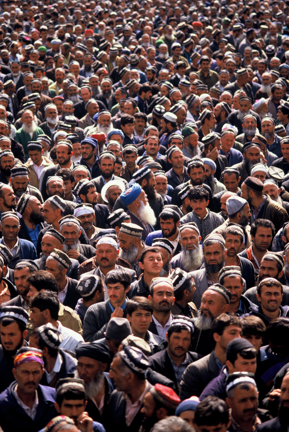 Islamic Renaissance Party members during a protest to overthrow the Soviet backed government in power in Dushanbe, Tajikistan. 1992