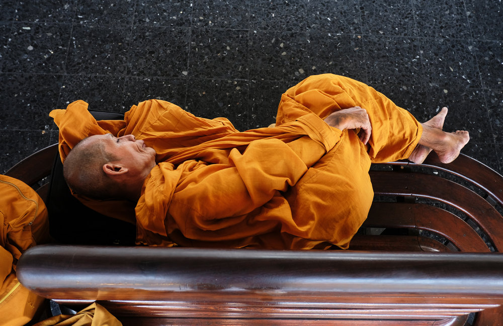 """Sleeping Monk."" Hua Lamphong Train Station, Bangkok. 2017"