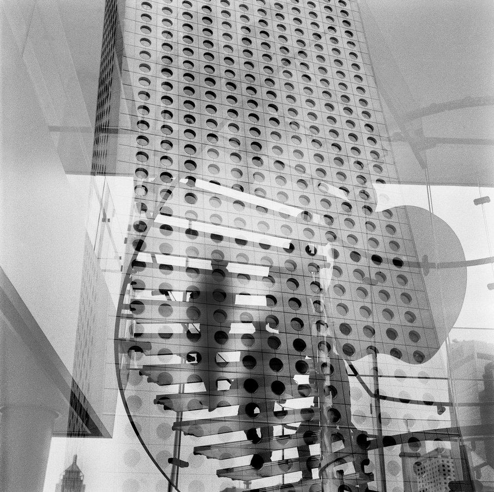 Rollei double exposure. Jardine House in Hong Kong. 2014