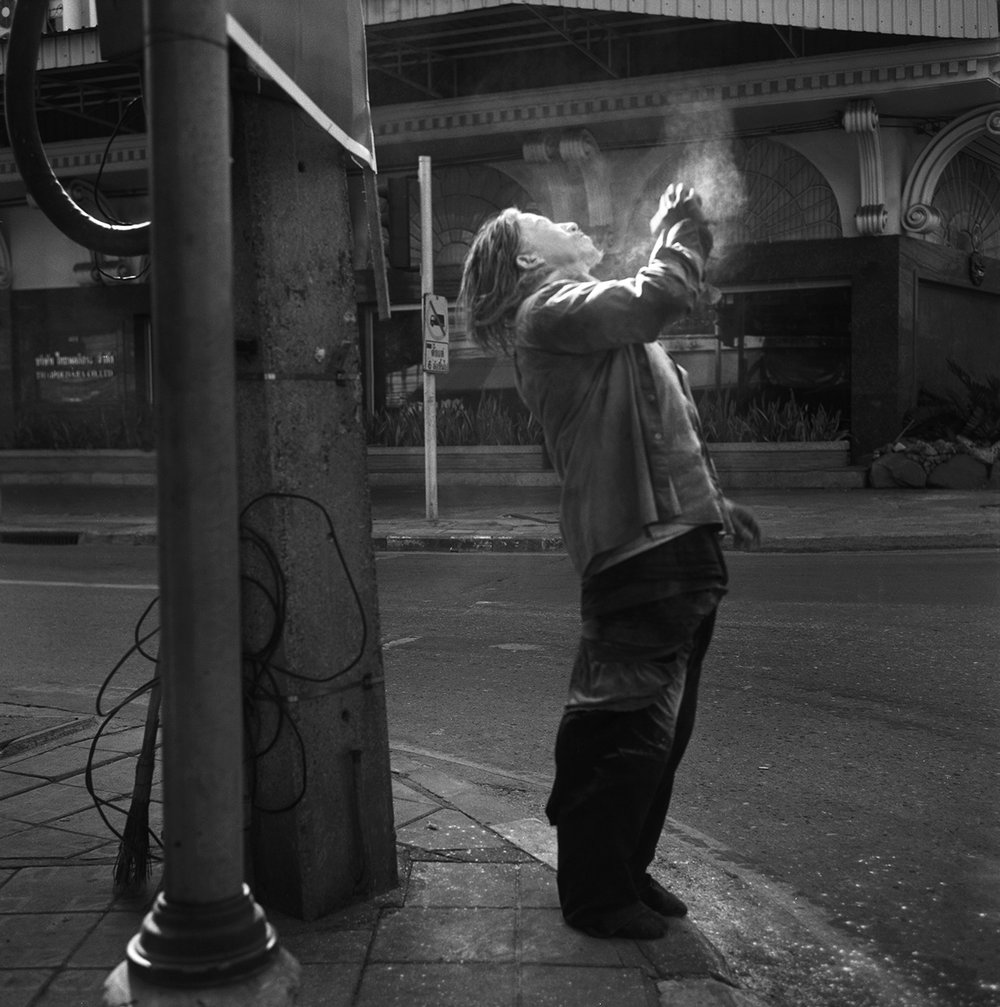 """Talcum Powder Shower."" Early morning hours. Bangkok, Thailand, 2014"