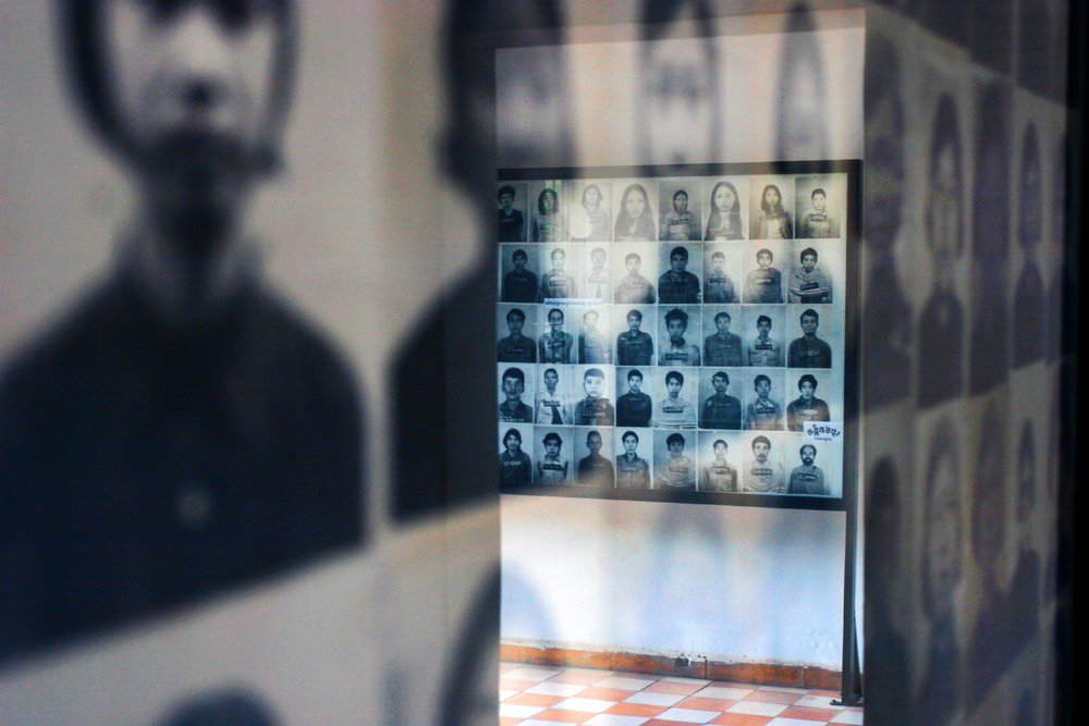 Tuol Sleng Genocide Museum is a museum in Phnom Penh, the capital of Cambodia, chronicling the Cambodian genocide. The site is a former high school which was used as Security Prison 21 (S-21) and a place of torture by the Khmer Rouge regime from 1975 to 1979.