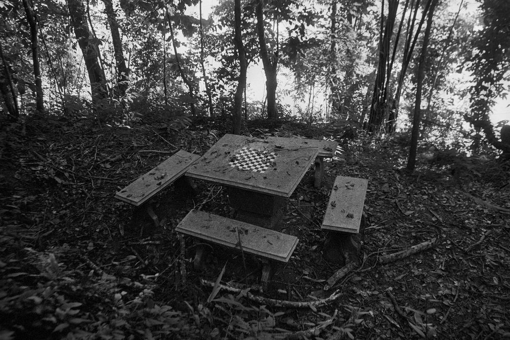 Chessboard in the forest. Luang Prabang, Laos. 2001