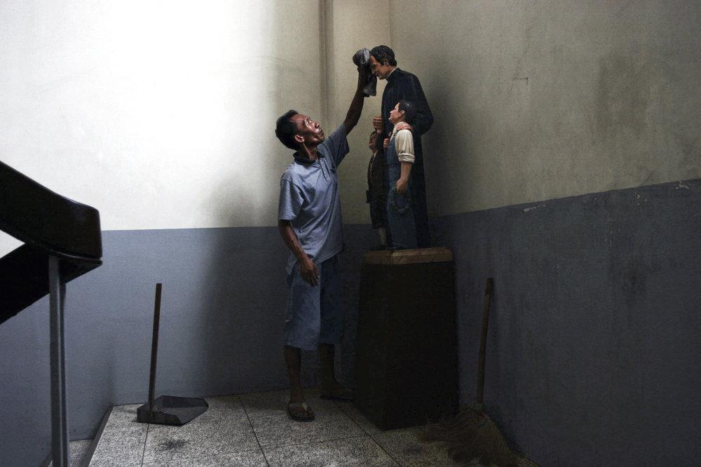 Janitor at work. Catholic school in Tondo slum metro Manila. 2005