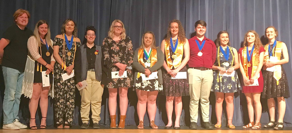 2018 CLATSKANIE GRADUATES who received scholarships administered by the Clatskanie Foundation include: from left Nathaniel Strong, Olivia Warren, Chloe Davidson, Autumn Krause, Hailie Roberson, Kasidy Engen, Madeline Moravec, Joseph Christian, Alaina Schwartz, Hannah Reeves and Sierra Bechdolt.  Below: Jacob Moore receives the Scott Evenson Memorial Scholarship.