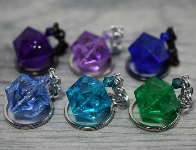 4081b4da3d72 Custom Gamescience D20 Keychain - Blue Green and Purple Dice Charms ...