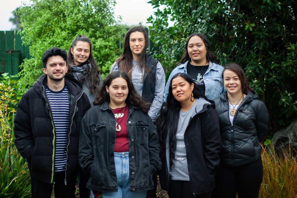 L — R: Kaeden Watts, India Logan-Riley, Nakia Randle, Nevada Huaki-Foote, Annie Te One, Hana Teipo, Kahu Kutia