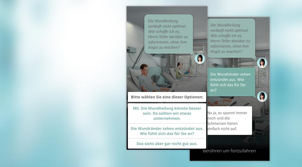 Sie erleben Situationen aus der Welt der Pflege und müssen sich entscheiden, wie Sie mit Patientinnen und Patienten, Angehörigen, Kolleginnen und Kollegen sprechen. -