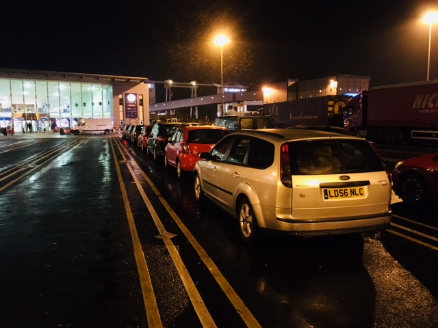 Waiting for an early morning ferry at Dover.