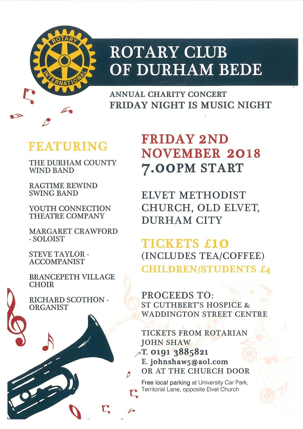Rotary Club Of Durham Bede Annual Charity Concert Waddington Street