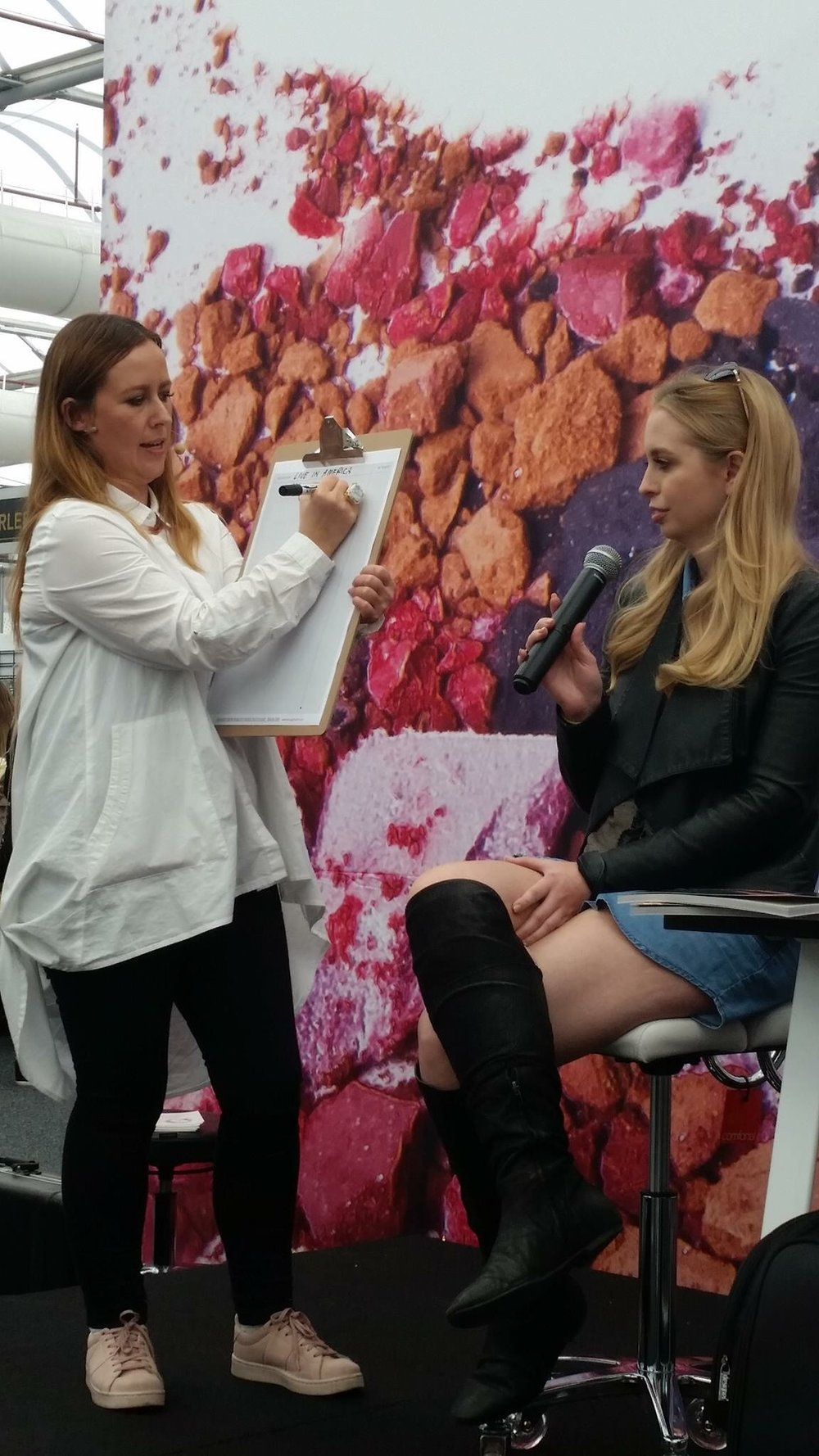 Talking about MUA Bootcamp for the first time since the books release at Beauty Expo... the lovely Sheri Vegas from Makeup Weapons volunteering to do Milestone Mapping with me on stage x