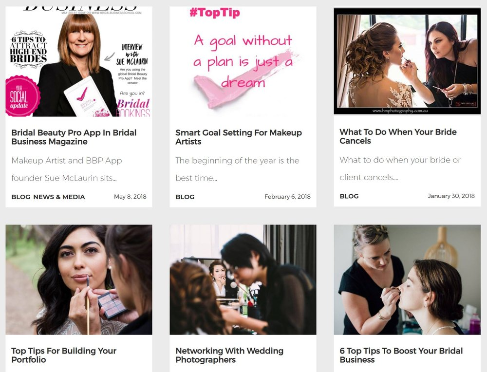 The Bridal Beauty App also has a blog which could be a great resource for you if you're in the bridal biz.  Sue also has a  blog  on her Makeup page that covers more areas of makeup artistry… and if you like my work… you'll also like Sues.