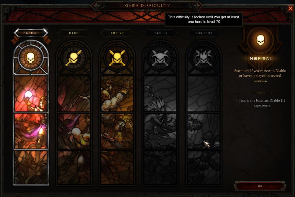 Diablo3 difficulty window