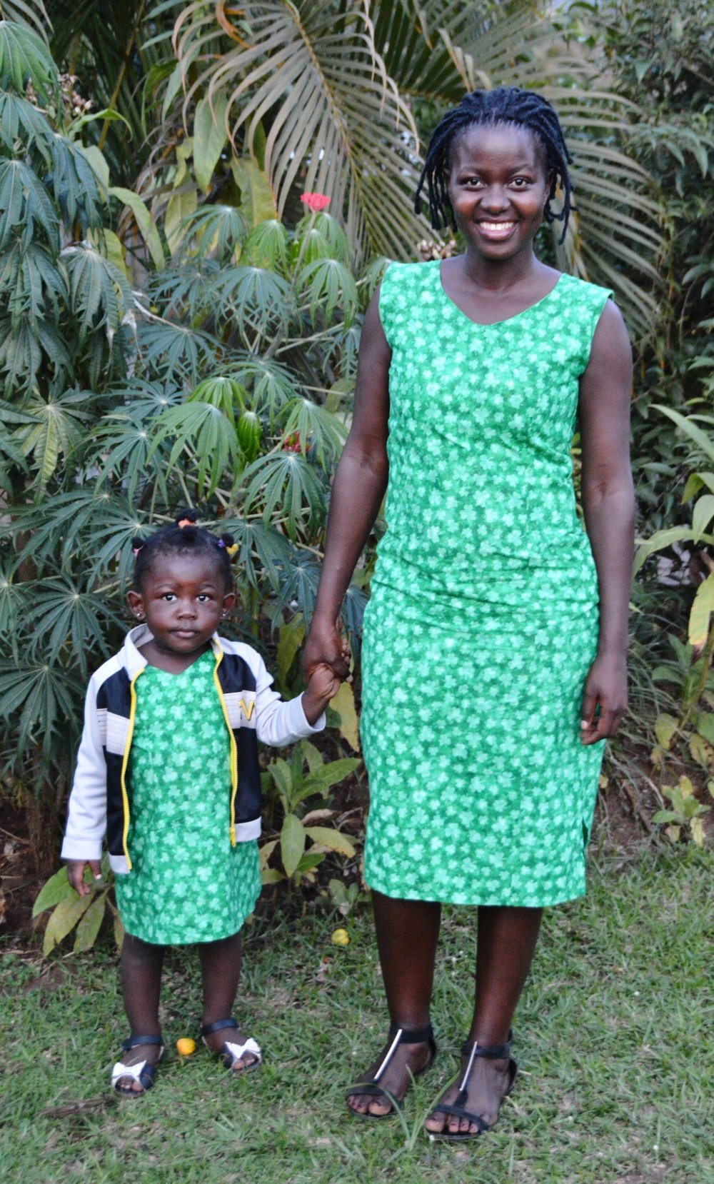 Lydia and her daughter Esther in 2017 wearing matching dresses that Lydia made!