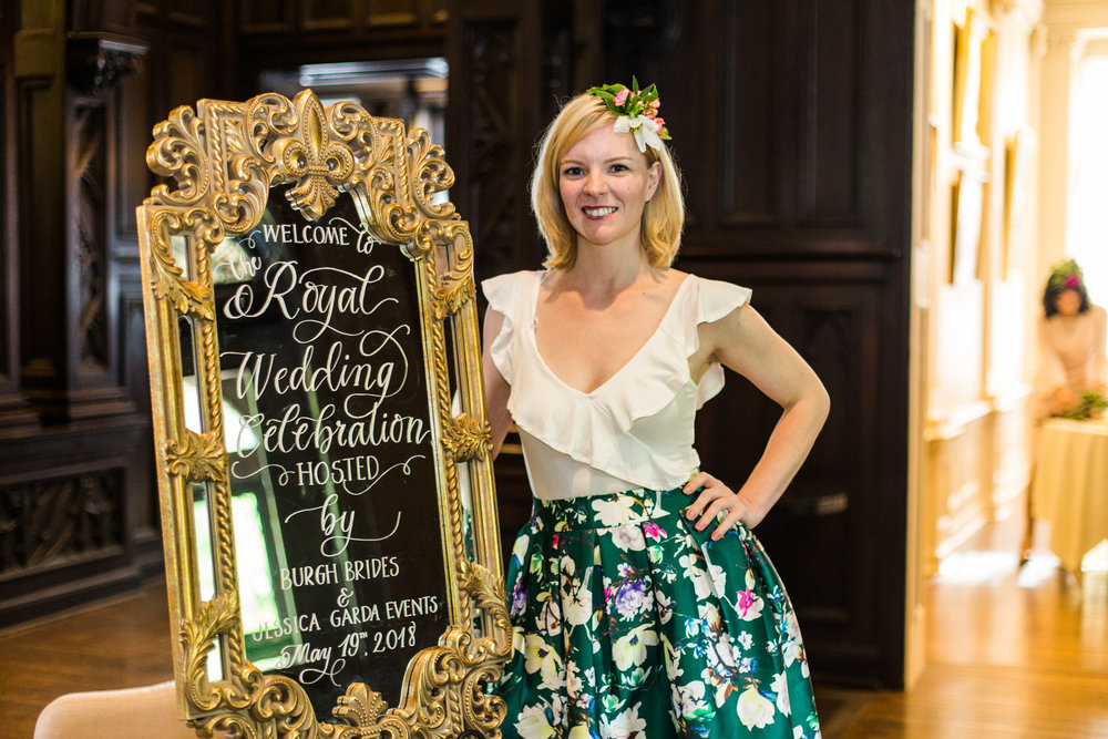 Pittsburgh Wedding Planner - Royal Wedding Watch Party - Gold Mirror by Vintage Alley Rentals - Judith Brown Calligraphy