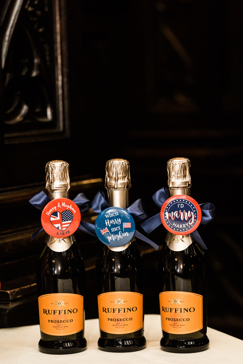 Pittsburgh Wedding Planner - Royal Wedding Watch Party - Champagne bottle favors
