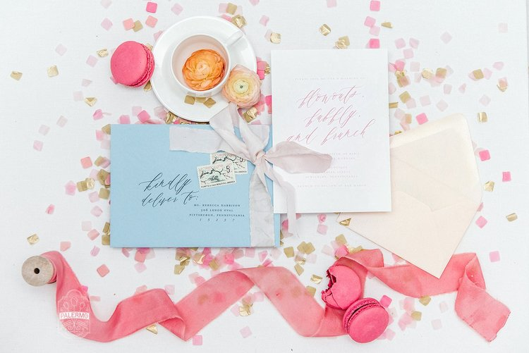 blowouts bubbly brunch pink blue bridal shower inspiration at bar marco and glow