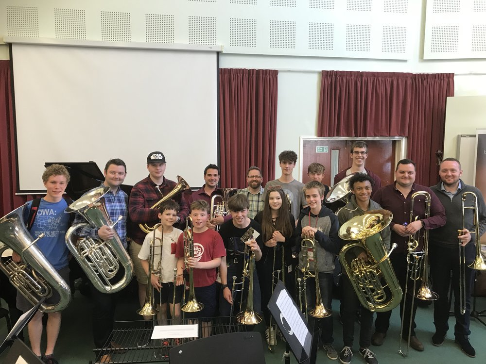 Young brass musicians from Southampton, alongside Southampton Music Hub teacher, Jon Hanchett and other musicians from the Low Brass Day