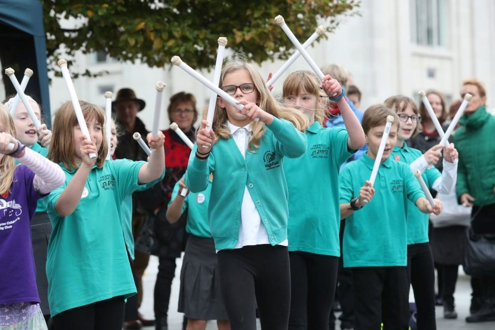 Young Musicians taking part in Southampton Music Hub's celebrations at last year's Music in the City Festival. Photo by the Daily Echo.