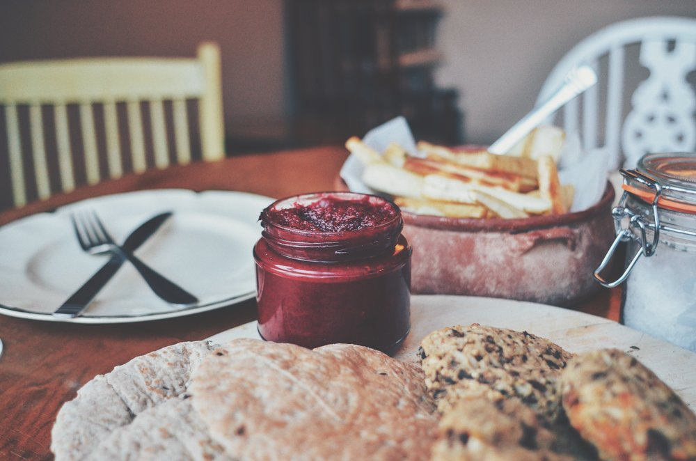 Beetroot Ketchup served with roasted parsnip chips and Anna Jones 'Really Hungry Burger' // Recipe by the Foraged Life