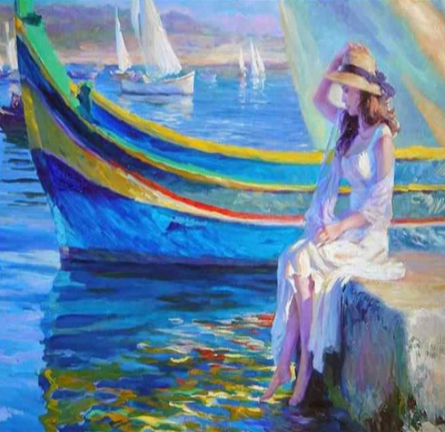 Colorful-abstract-painting-MALTA-WATERFRONT-girls-on-seaside-with-sailing-boat-oil-painting-hand-painted-on.jpg