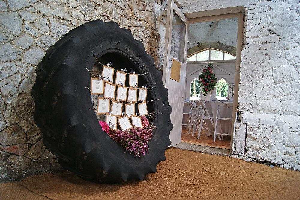 Big Tyre with Wedding Invites