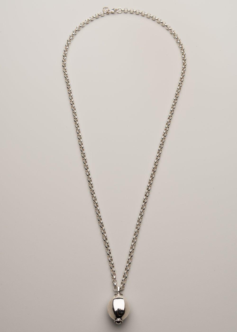 Brigitte regula long necklace with sterling silver ball pendant long necklace with sterling silver ball pendant aloadofball Image collections