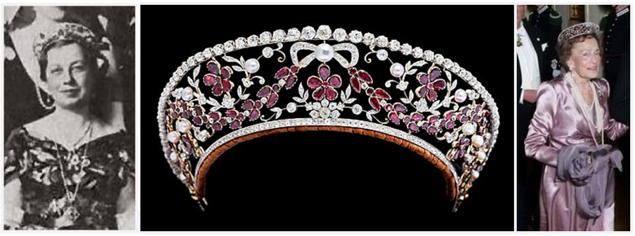 Danish Rosenborg Kokoshnik designed by jeweler Dragsted in the 1930s, seen on Princess Viggo (left) and  Countess Ruth (right)