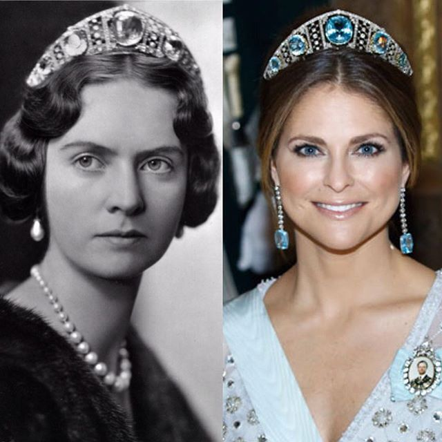 Princess Sibylla (left) and her granddaughter Princess Madeleine (left) wearing the Swedish Aquamarine Kokoshnik