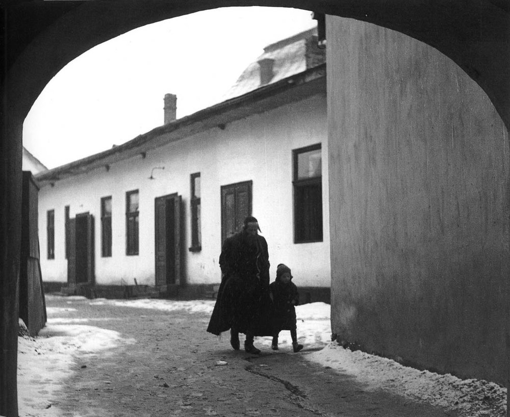 "Vishniac, ""A Son Goes to Chedar"" ( Father taking his son to school),  1937 — also currently on display at Neomodern."