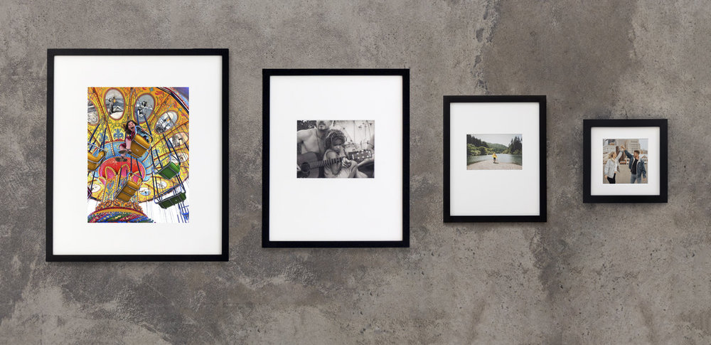 We keep museum-quality affordable by simplifying: four frame sizes, only black frames or white frames. We don't worry about the exact size of the print, pricing is based on the size of the frame. Pictures can be a range of sizes in each frame; regardless, inside that frame, we cut a perfect mat around your print.