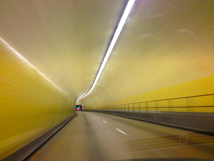 "My all too-dangerous shot out my windsheild of the Broadway Tunnel, which is officially the ""Robert C. Levy tunnel"""
