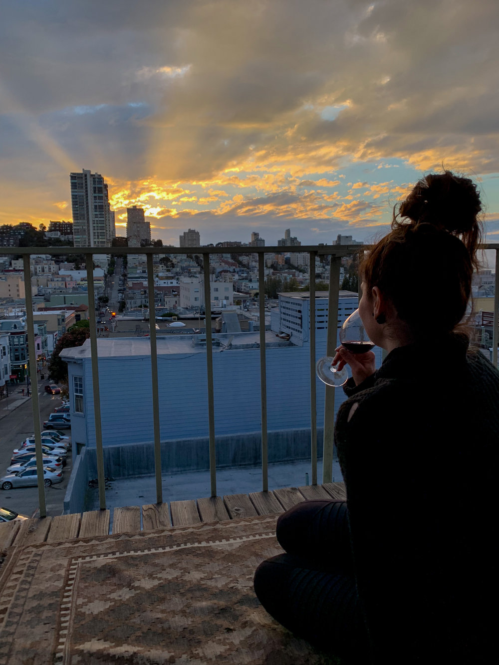 Suzanne, chilling after recording an episode. Gorgeous sunset…