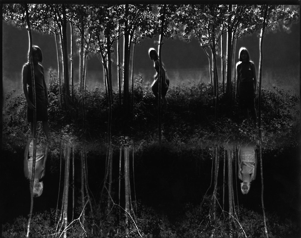 """""""Small Woods Where I Met Myself"""" (1967) Jerry Uelsmann; I was 4 when this went on the wall in our house, and was the stuff of my nightmares for years."""