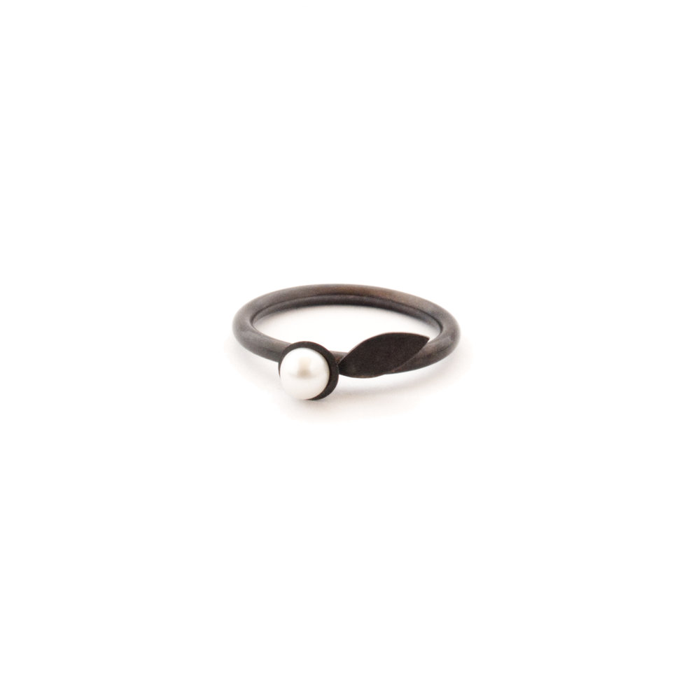 Oxidised flower ring - sterling silver and freshwater pearl - Jenny Gilbert Jewellery