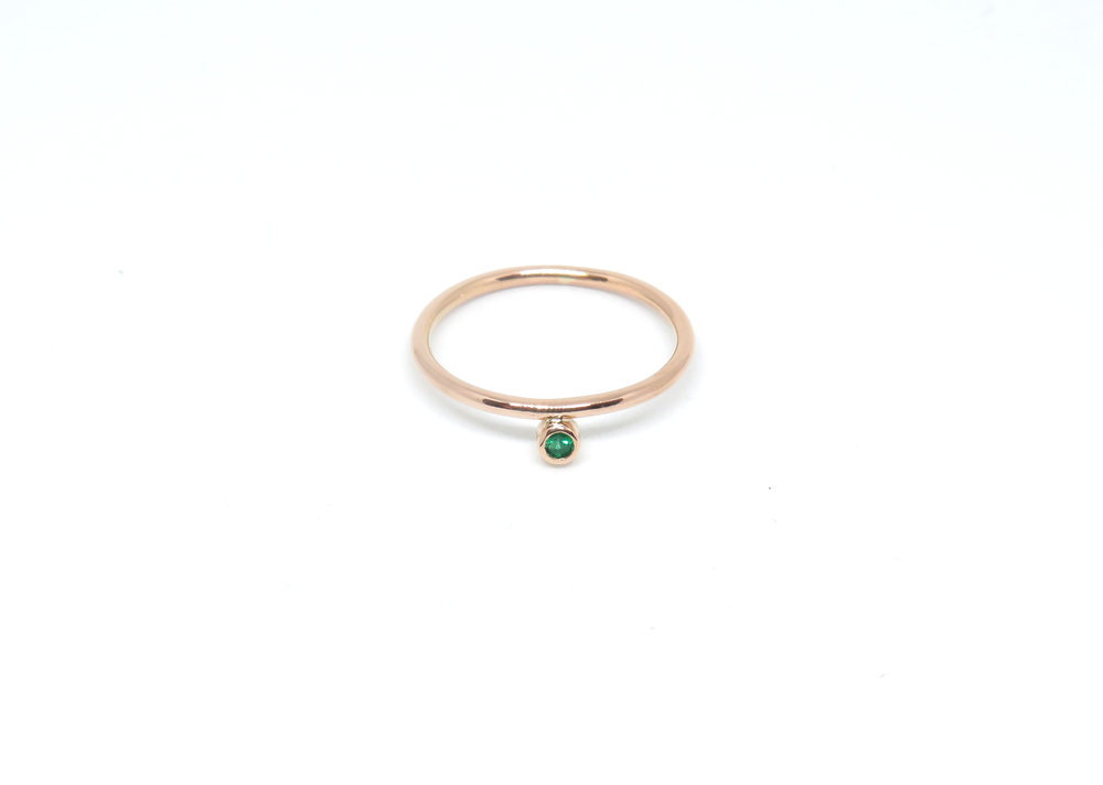 Very dainty 18ct rose gold with a tiny ethically sourced Brazilian emerald.
