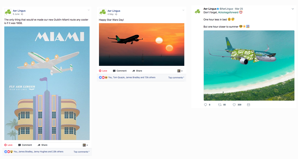 Social posts for Aer Lingus could involve illustration or image manipulation.