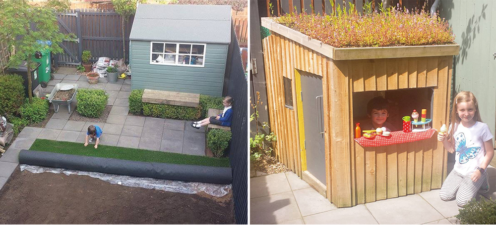 Recently re-designed the back garden and hand built floating benches within box hedging sized to fit.  I also designed and built a bespoke play house for the kids with skylight and green roof.